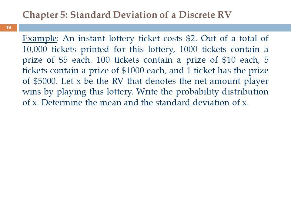 Chapter 5: Standard Deviation of a Discrete RV