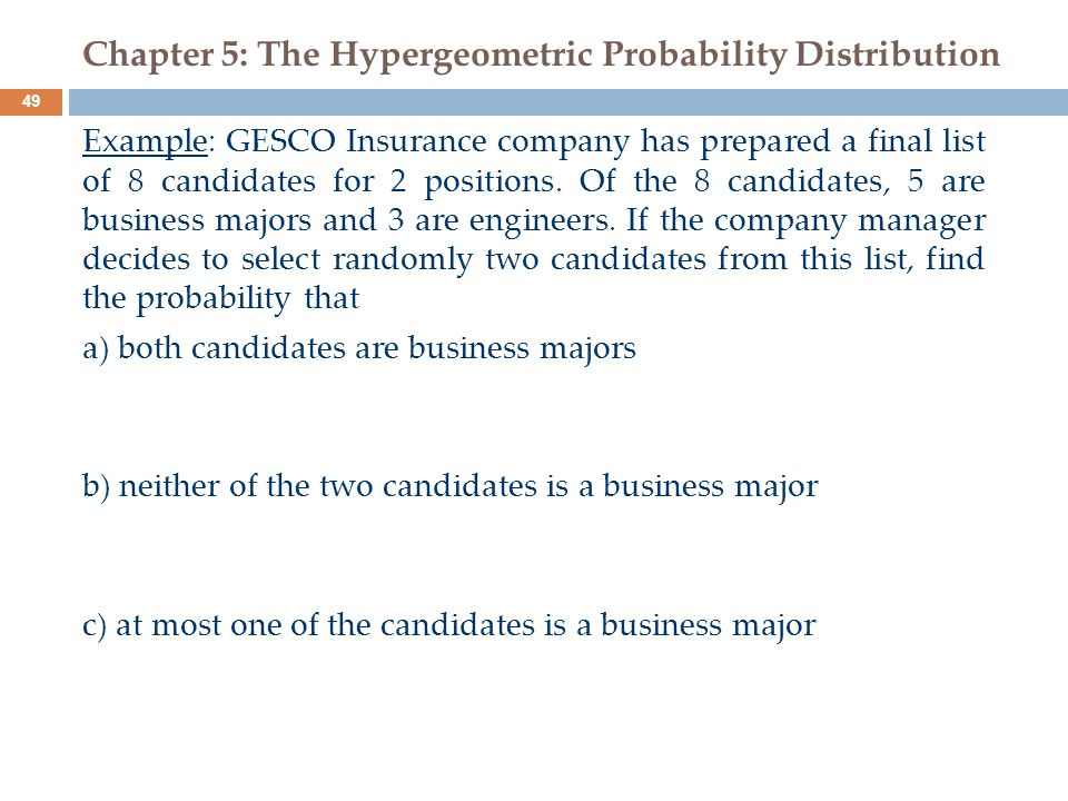 Chapter 5: The Hypergeometric Probability Distribution