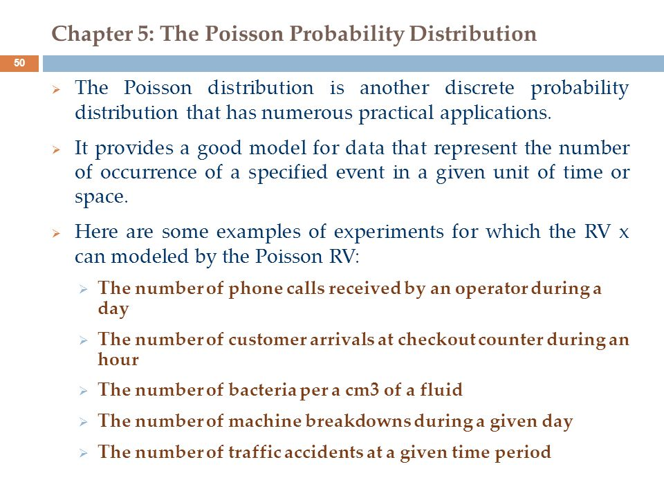 Chapter 5: The Poisson Probability Distribution
