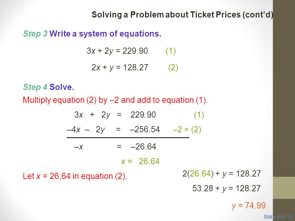 Solving a Problem about Ticket Prices (cont'd)
