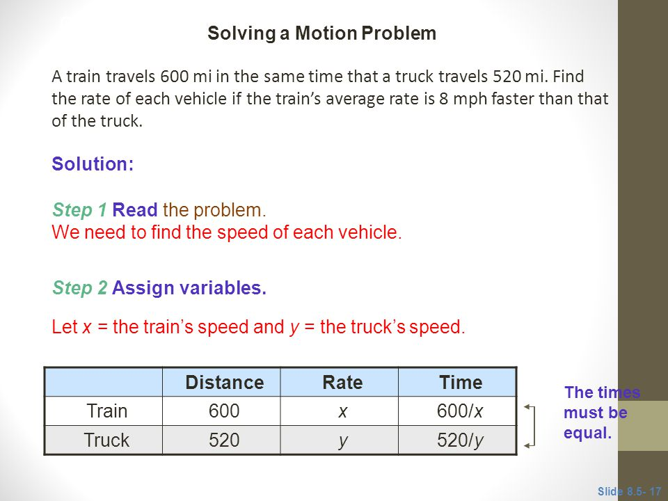 CLASSROOM EXAMPLE 4 Distance Rate Time
