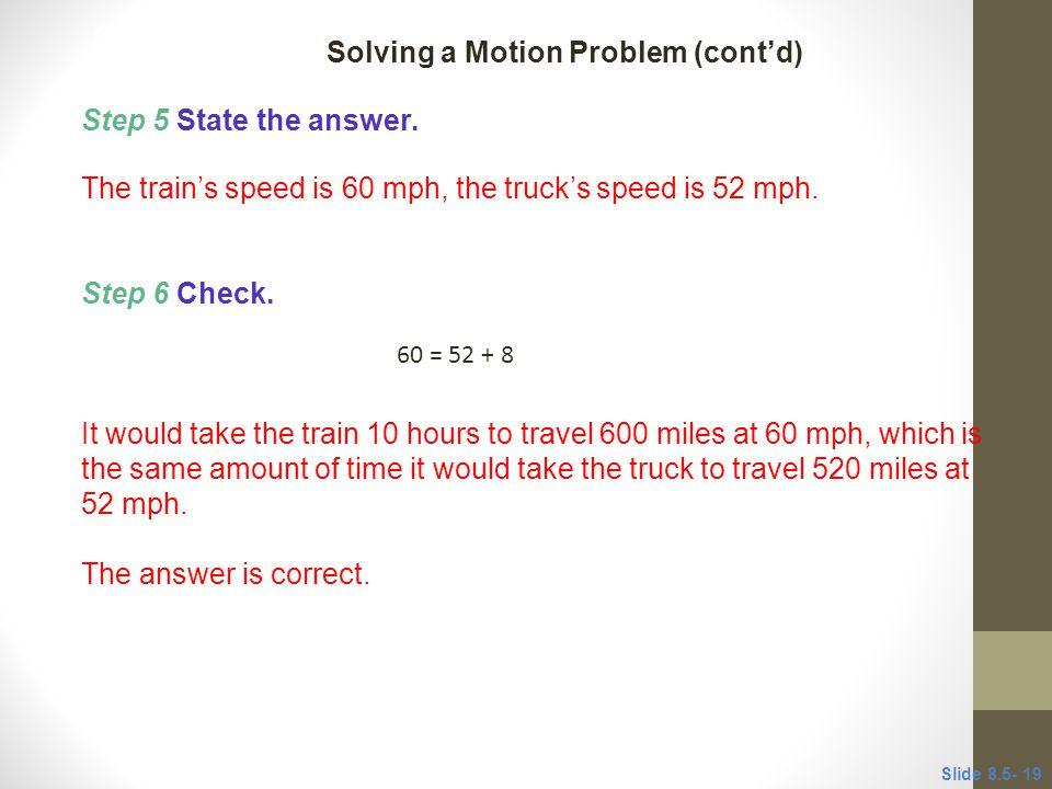 Solving a Motion Problem (cont'd)