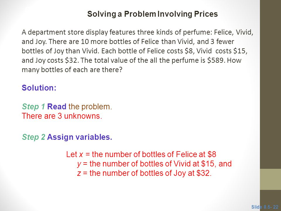 Solving a Problem Involving Prices