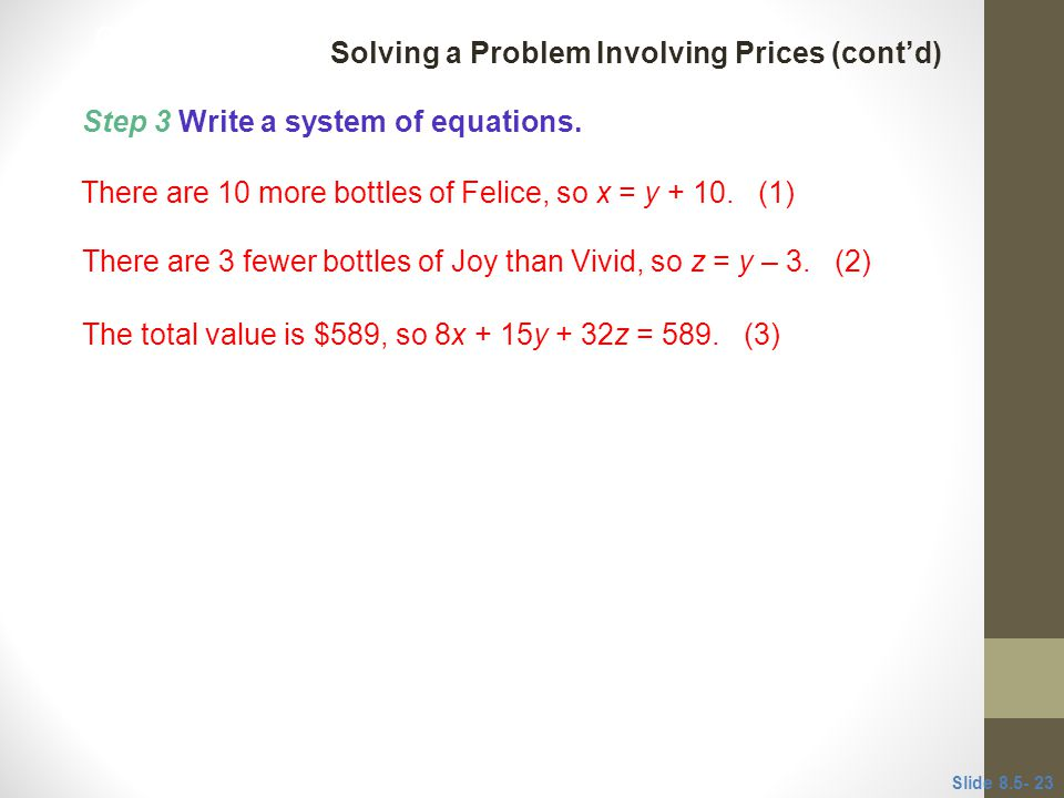 Solving a Problem Involving Prices (cont'd)