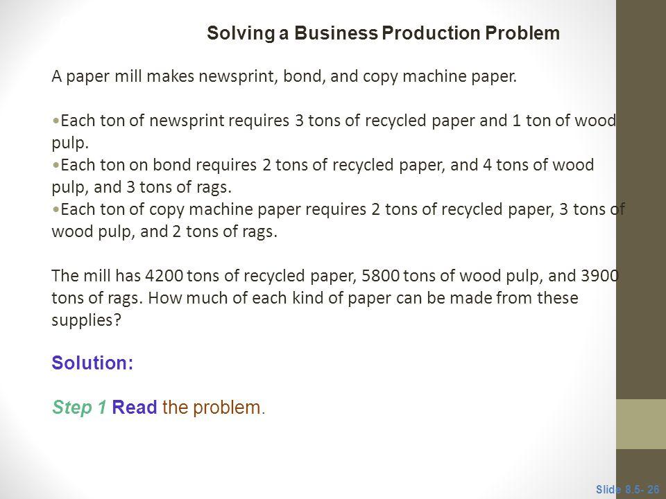 Solving a Business Production Problem