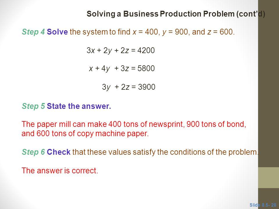Solving a Business Production Problem (cont'd)