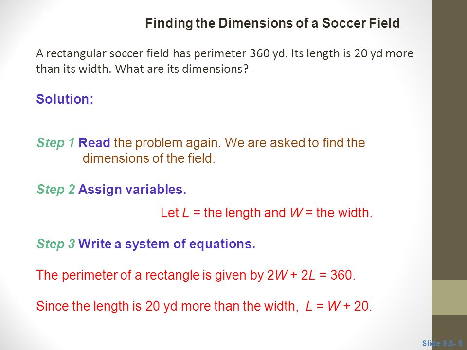 Finding the Dimensions of a Soccer Field