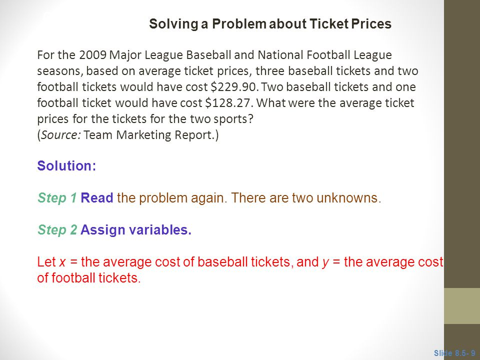 Solving a Problem about Ticket Prices