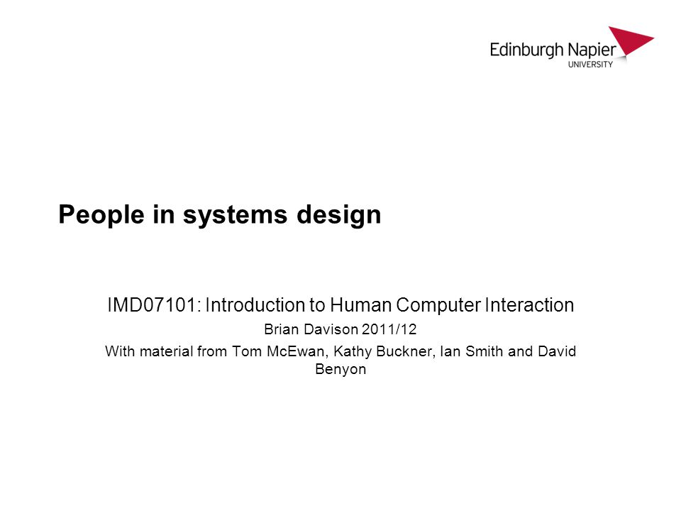 People in systems design