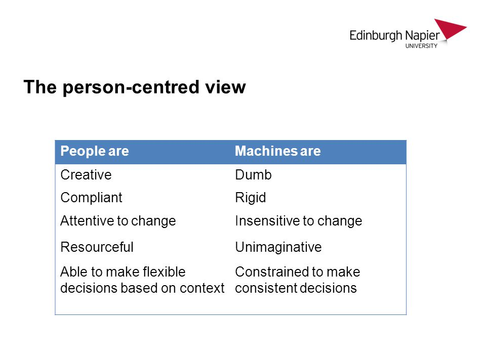 The person-centred view