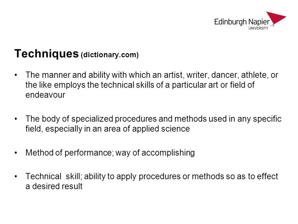 Techniques (dictionary.com)