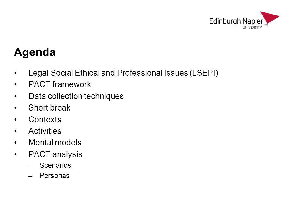 Agenda Legal Social Ethical and Professional Issues (LSEPI)