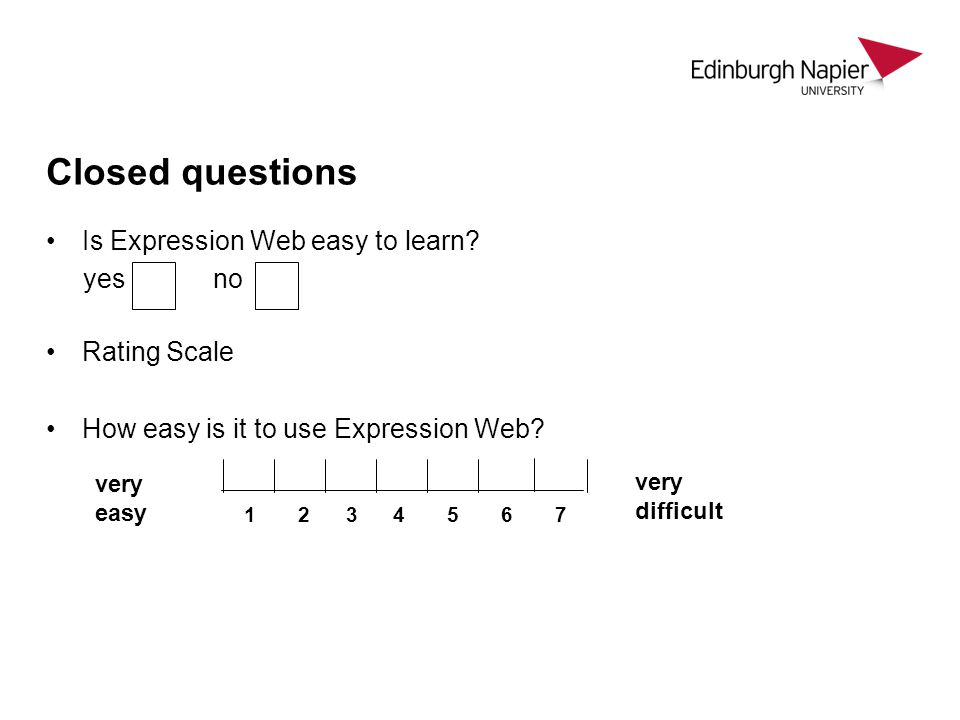 Closed questions Is Expression Web easy to learn yes no Rating Scale