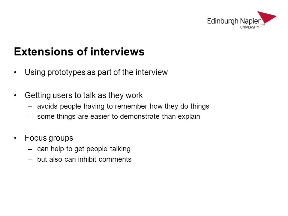Extensions of interviews