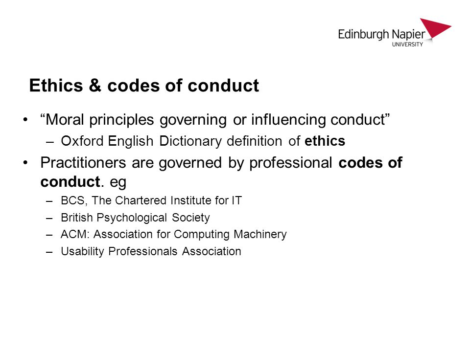 Ethics & codes of conduct
