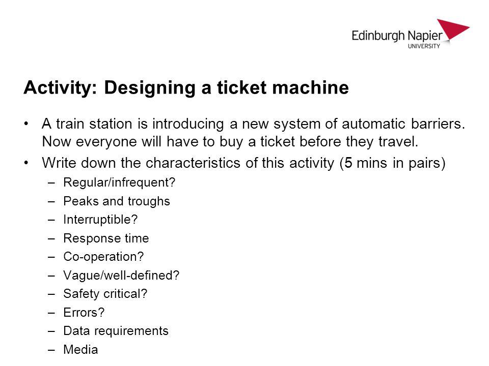 Activity: Designing a ticket machine