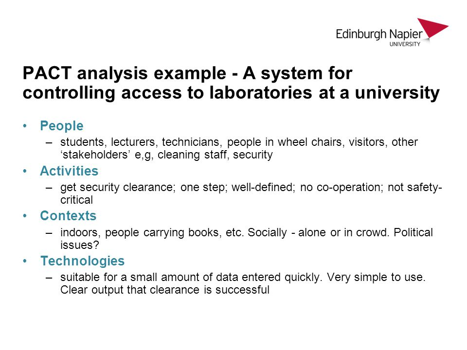 PACT analysis example - A system for controlling access to laboratories at a university