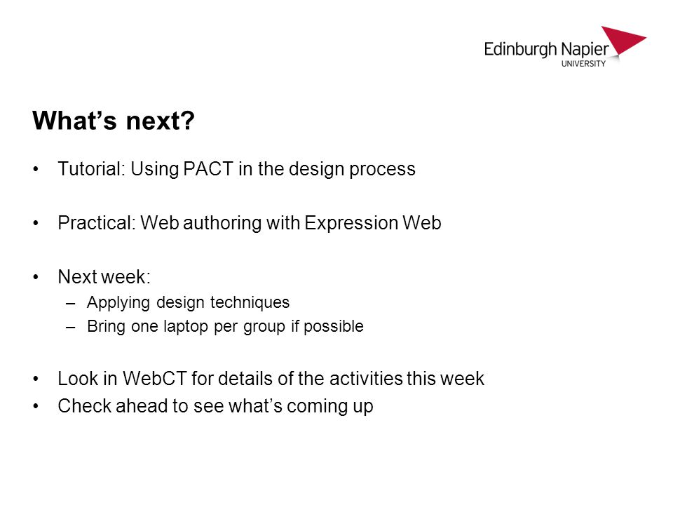 What's next Tutorial: Using PACT in the design process
