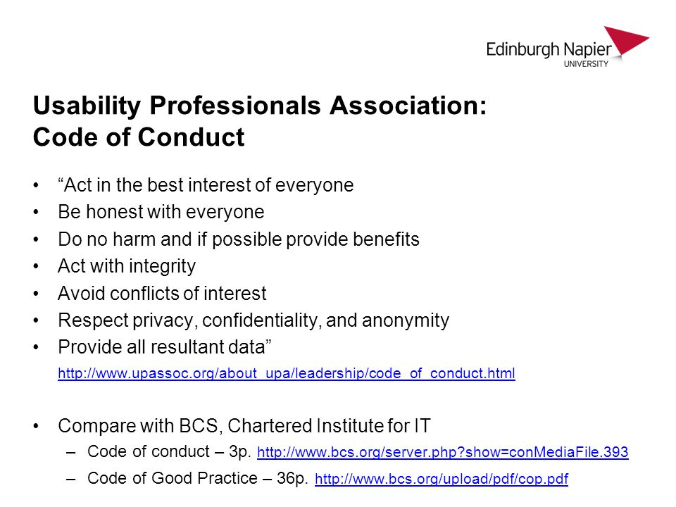 Usability Professionals Association: Code of Conduct