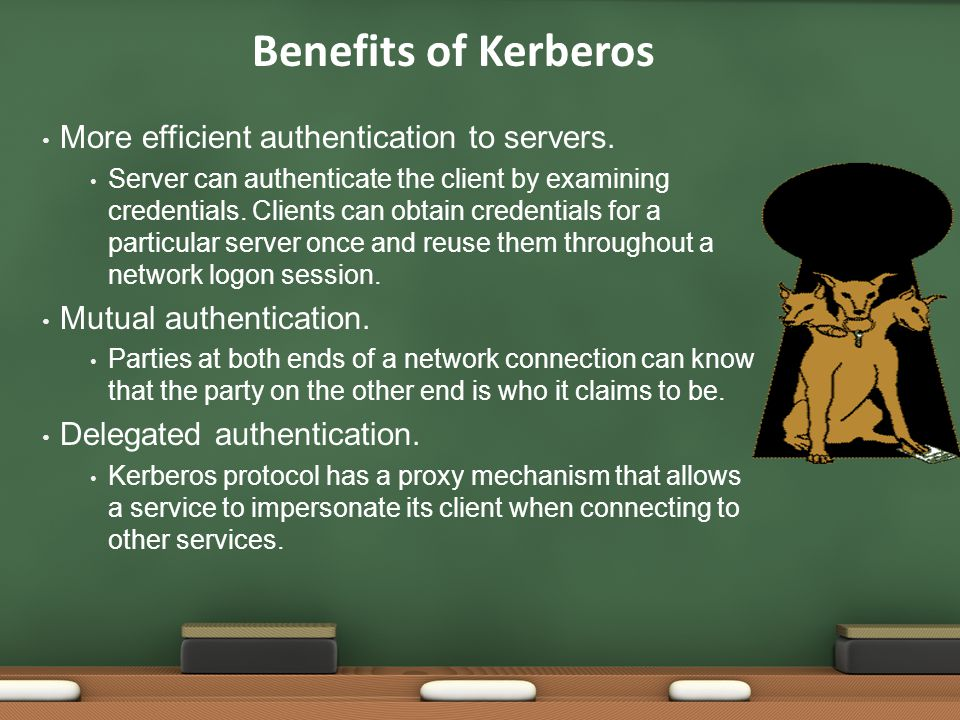 Benefits of Kerberos More efficient authentication to servers.
