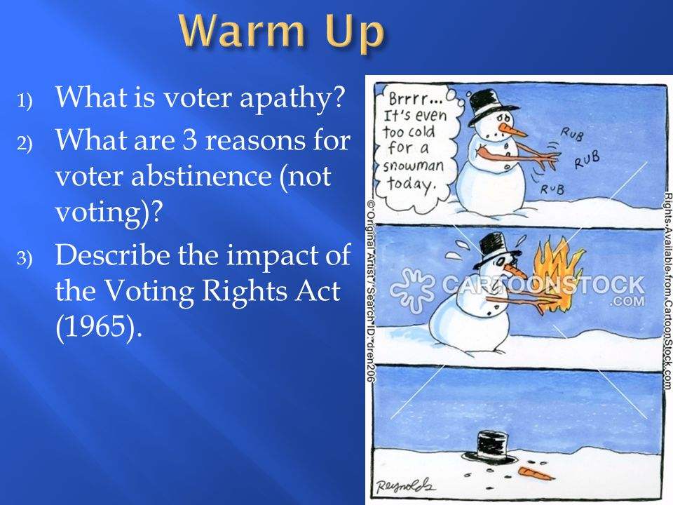 Warm Up What is voter apathy