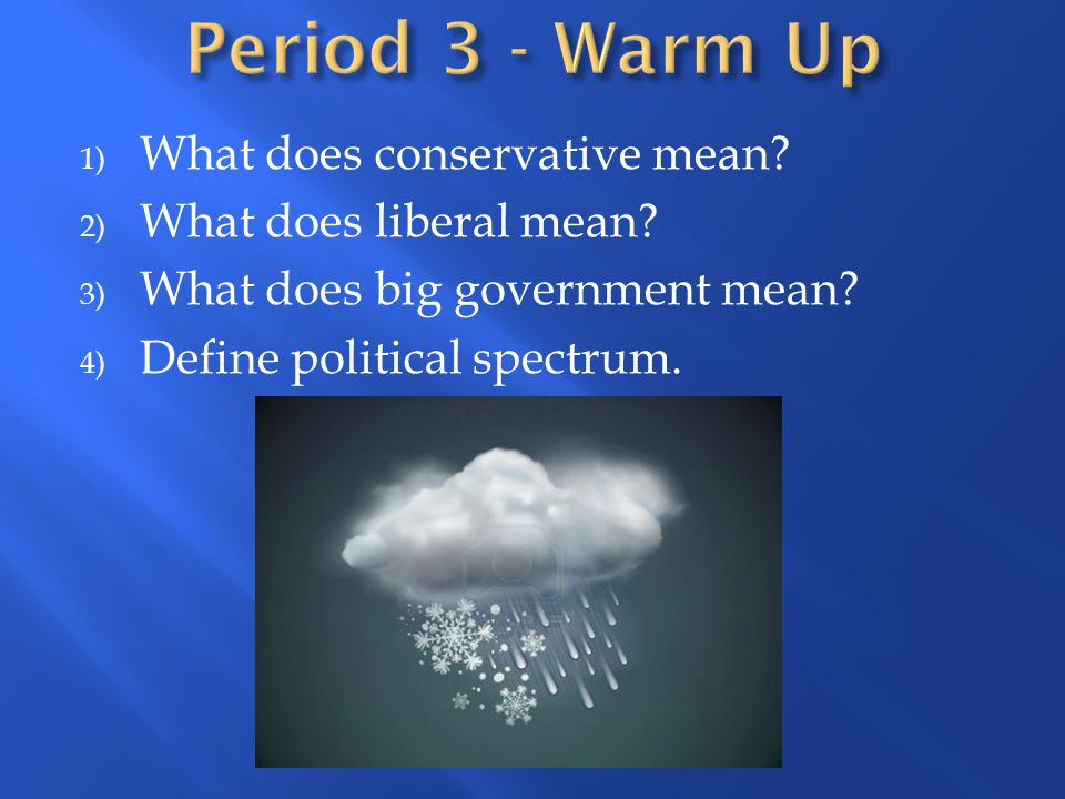 Period 3 - Warm Up What does conservative mean