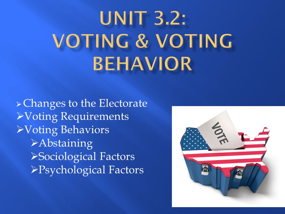 Unit 3.2: Voting & Voting Behavior