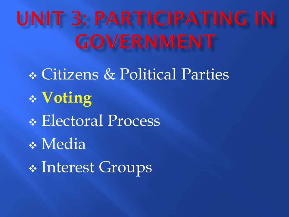 Unit 3: Participating in Government
