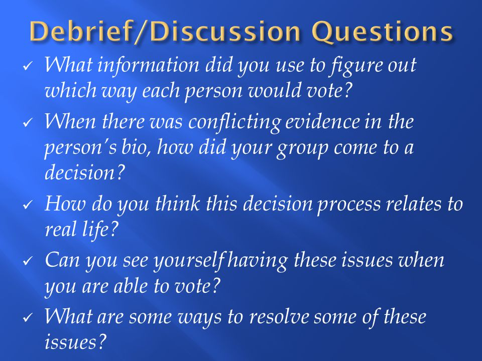 Debrief/Discussion Questions