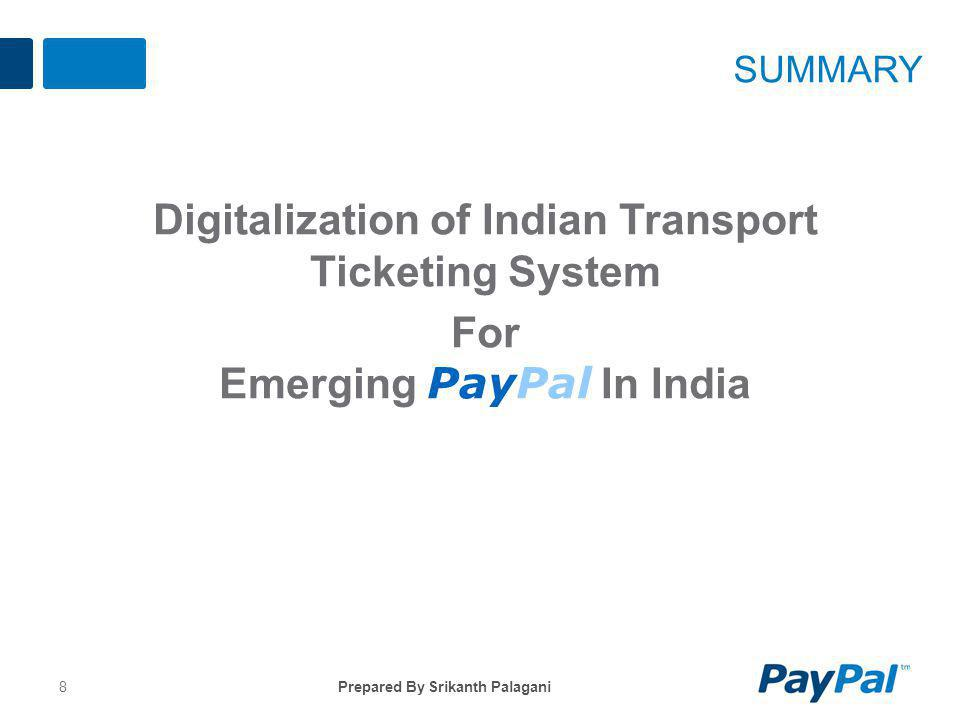 Summary Digitalization of Indian Transport Ticketing System For Emerging PayPal In India Prepared By Srikanth Palagani.
