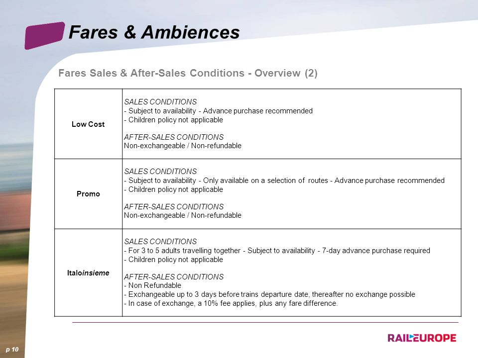 Fares & Ambiences Fares Sales & After-Sales Conditions - Overview (2)