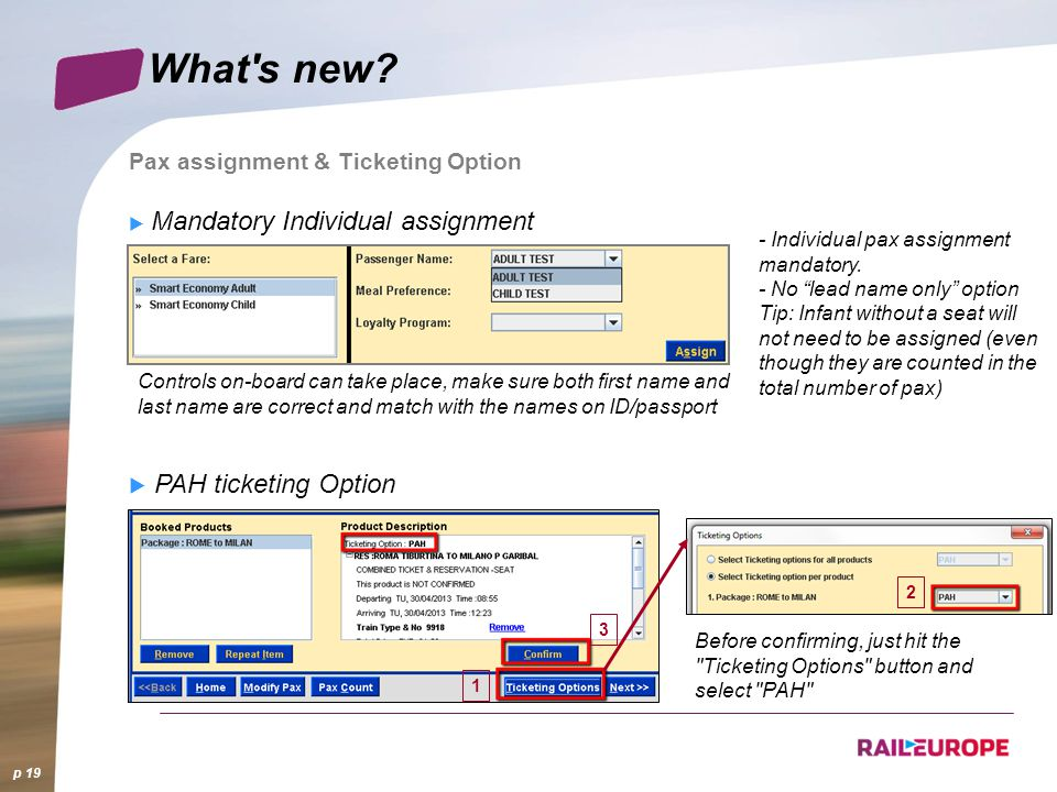 What s new PAH ticketing Option Pax assignment & Ticketing Option