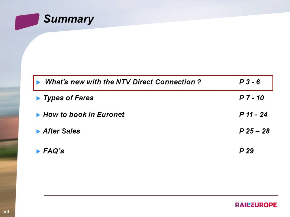 Summary What s new with the NTV Direct Connection P 3 - 6