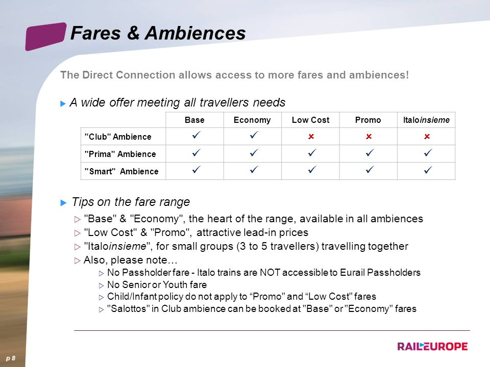 Fares & Ambiences û ü Tips on the fare range