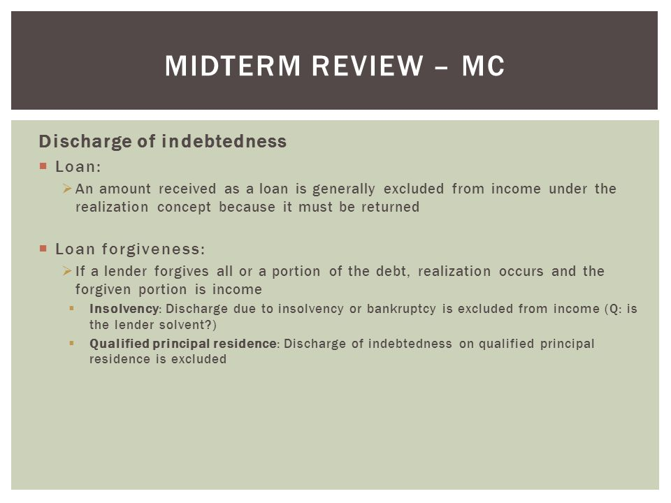 Midterm Review – MC Discharge of indebtedness Loan: Loan forgiveness: