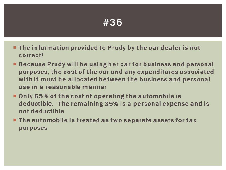 #36 The information provided to Prudy by the car dealer is not correct!