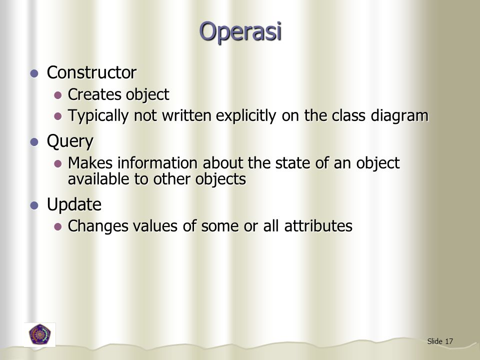 Operasi Constructor Query Update Creates object