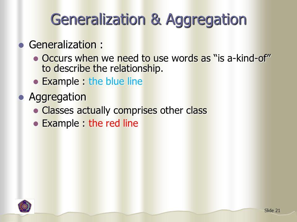 Generalization & Aggregation