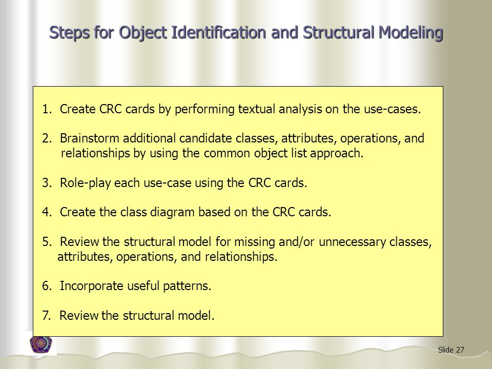 Steps for Object Identification and Structural Modeling