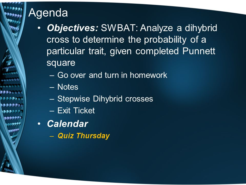 Agenda Objectives: SWBAT: Analyze a dihybrid cross to determine the probability of a particular trait, given completed Punnett square.
