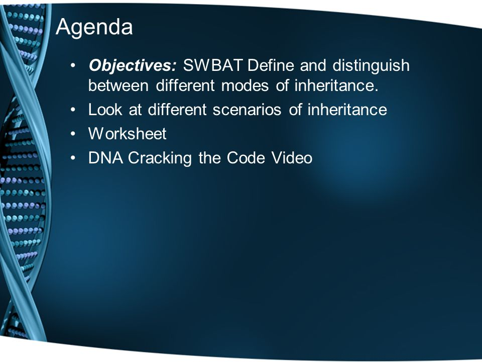 Agenda Objectives: SWBAT Define and distinguish between different modes of inheritance. Look at different scenarios of inheritance.