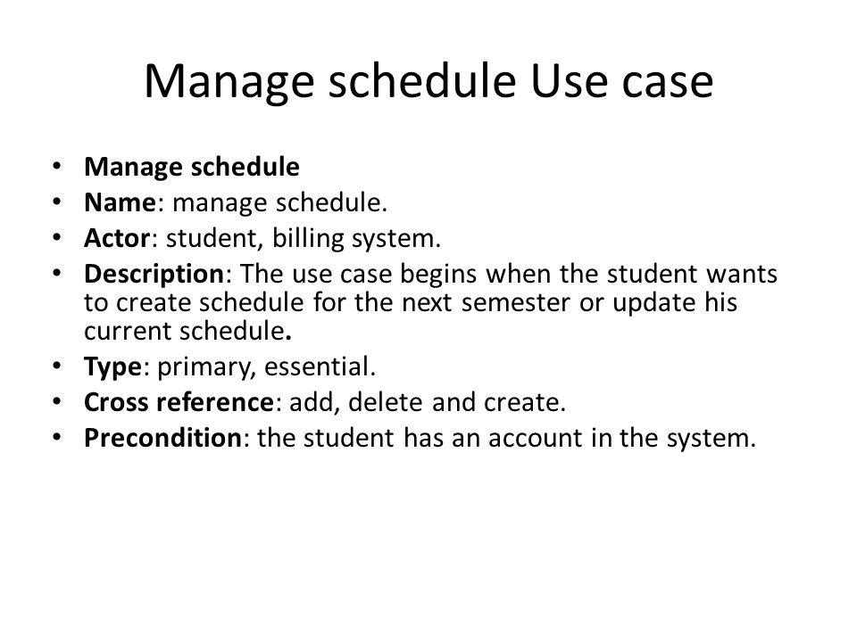 Manage schedule Use case