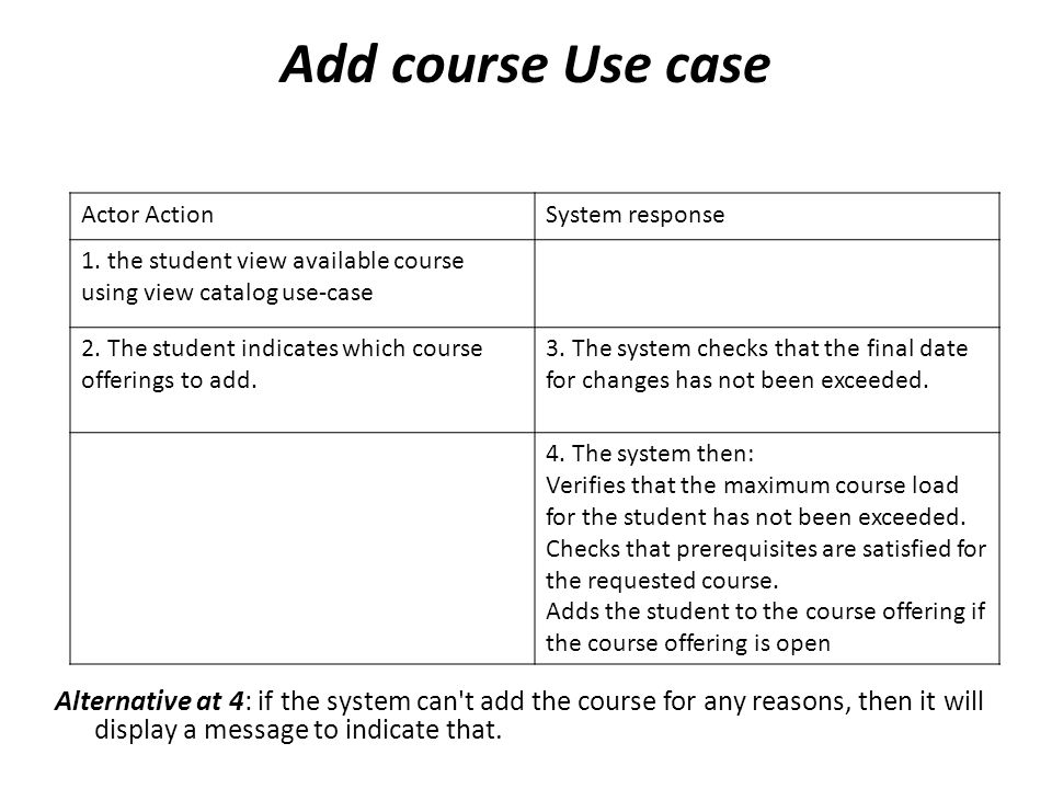 Add course Use case Actor Action. System response. 1. the student view available course using view catalog use-case.