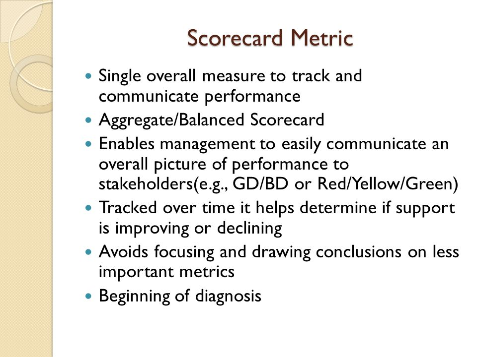 Scorecard Metric Single overall measure to track and communicate performance. Aggregate/Balanced Scorecard.