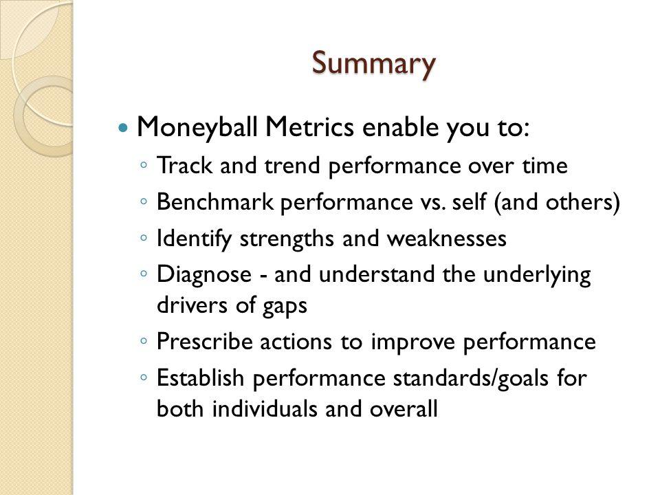 Summary Moneyball Metrics enable you to: