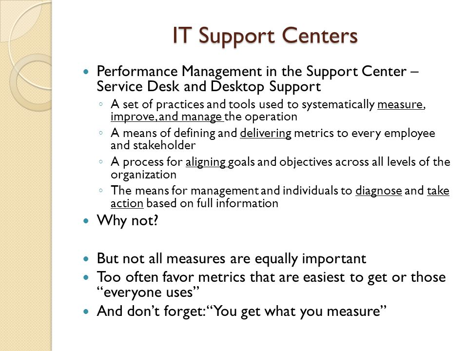 IT Support Centers Performance Management in the Support Center – Service Desk and Desktop Support.