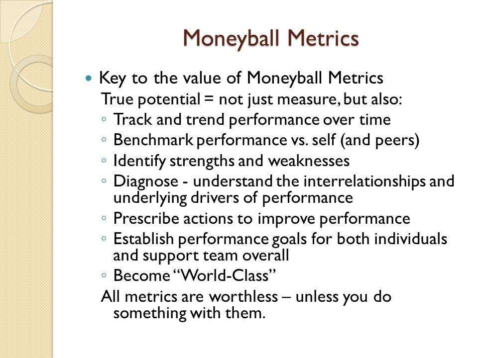 Moneyball Metrics Key to the value of Moneyball Metrics