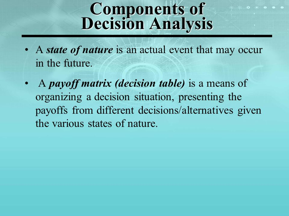 Components of Decision Analysis