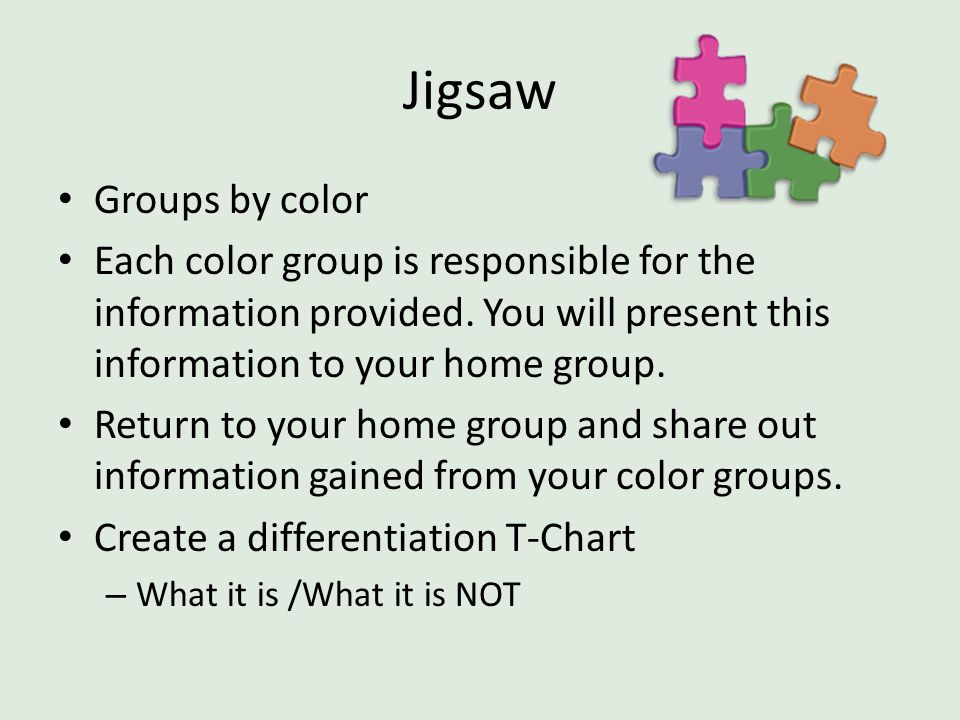 Jigsaw Groups by color. Each color group is responsible for the information provided. You will present this information to your home group.