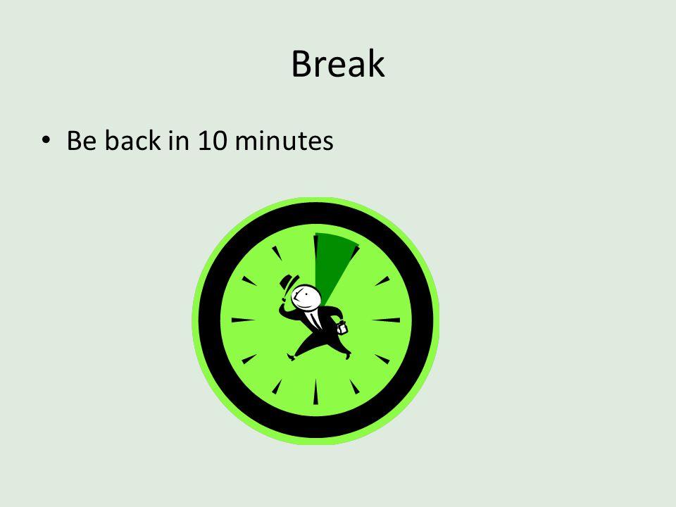 Break Be back in 10 minutes